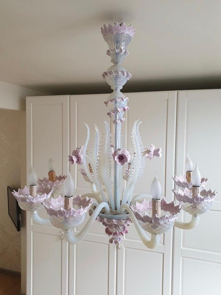 Venetian Murano Glass Chandelier For Sale 9