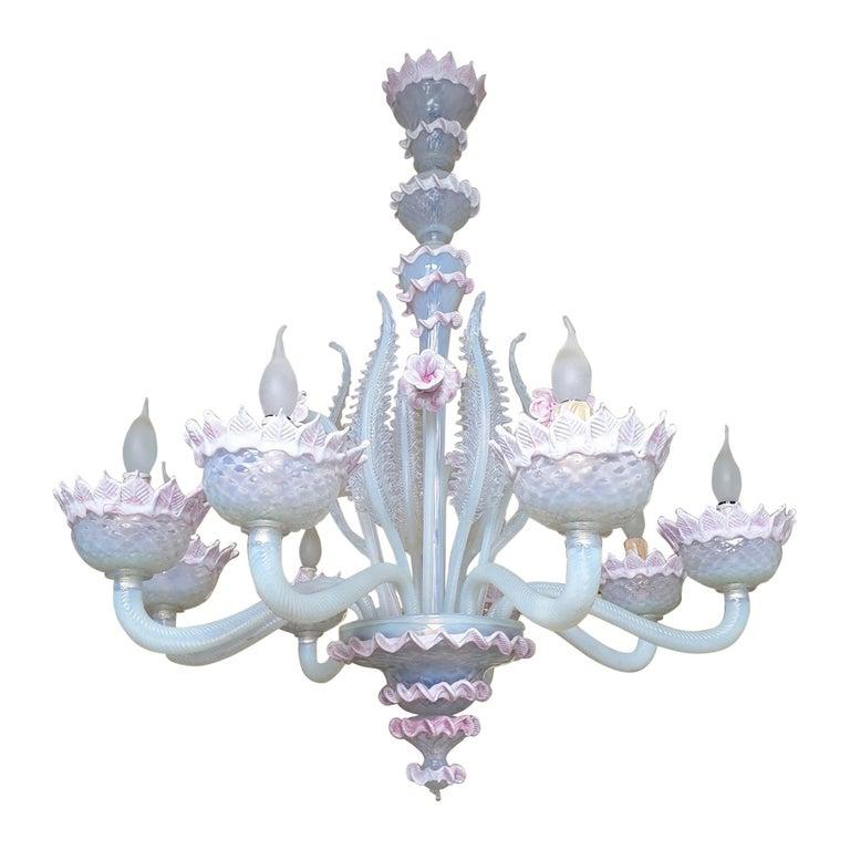 Venetian Murano Glass Chandelier For Sale