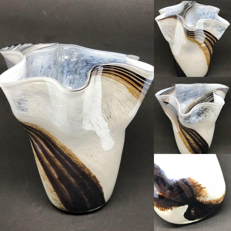 Venetian Murano Glass Fazzoletto Vase For Sale 6