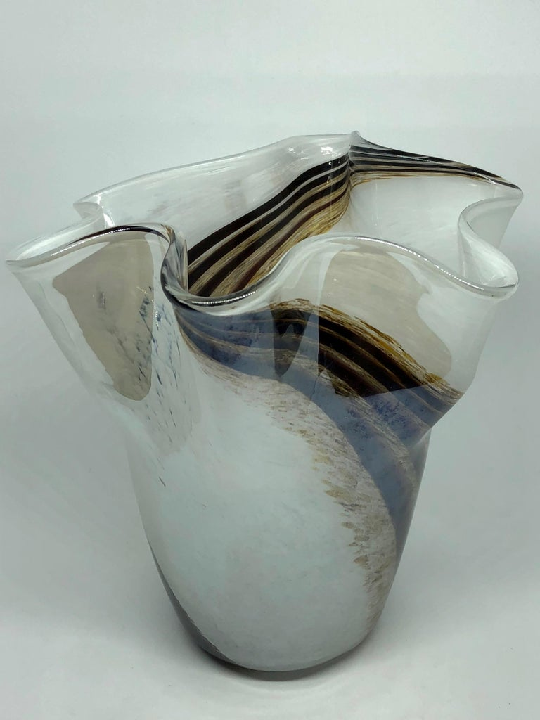 Late 20th Century Venetian Murano Glass Fazzoletto Vase For Sale