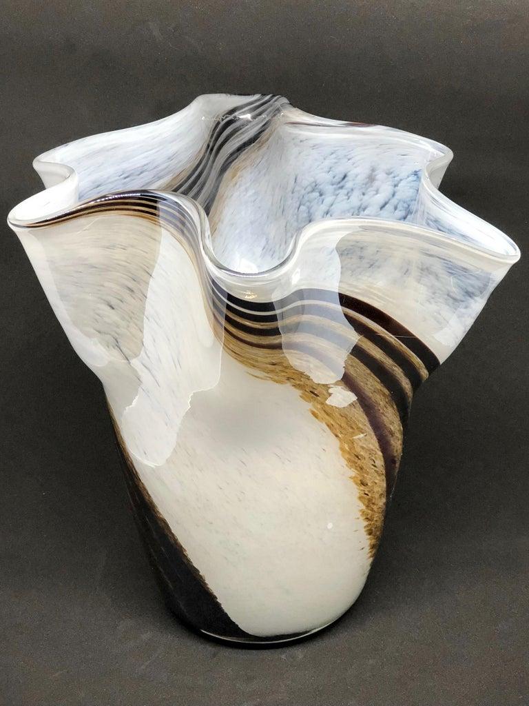 Venetian Murano Glass Fazzoletto Vase For Sale 3