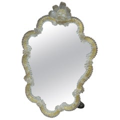 Venetian Murano Glass Mirror Yellow and Clear Glass, 1930s