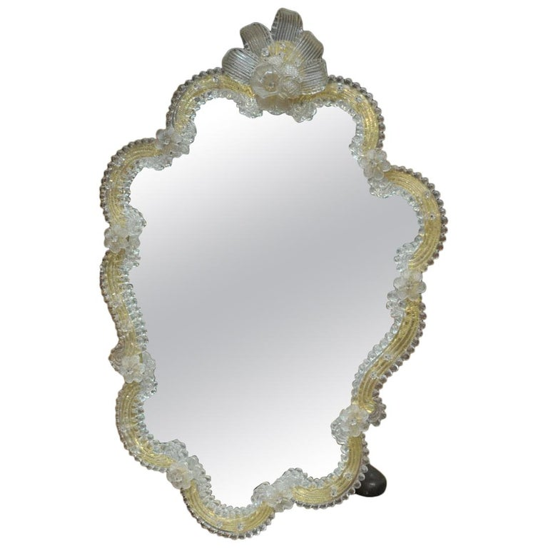 Venetian Murano Glass Mirror Yellow and Clear Glass, 1930s For Sale