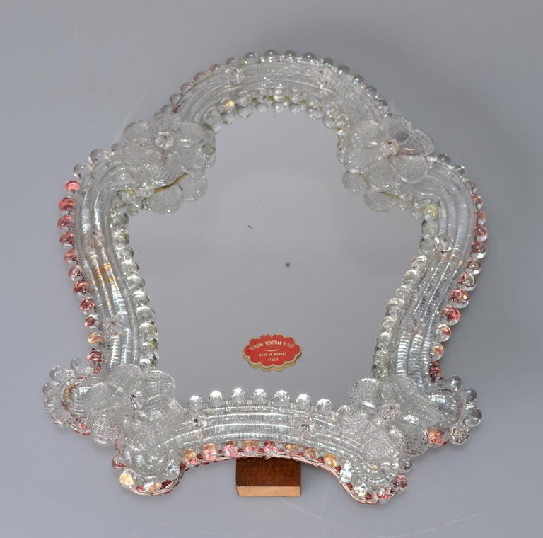 Italian Venetian Murano Glass Table Mirror, Italy For Sale