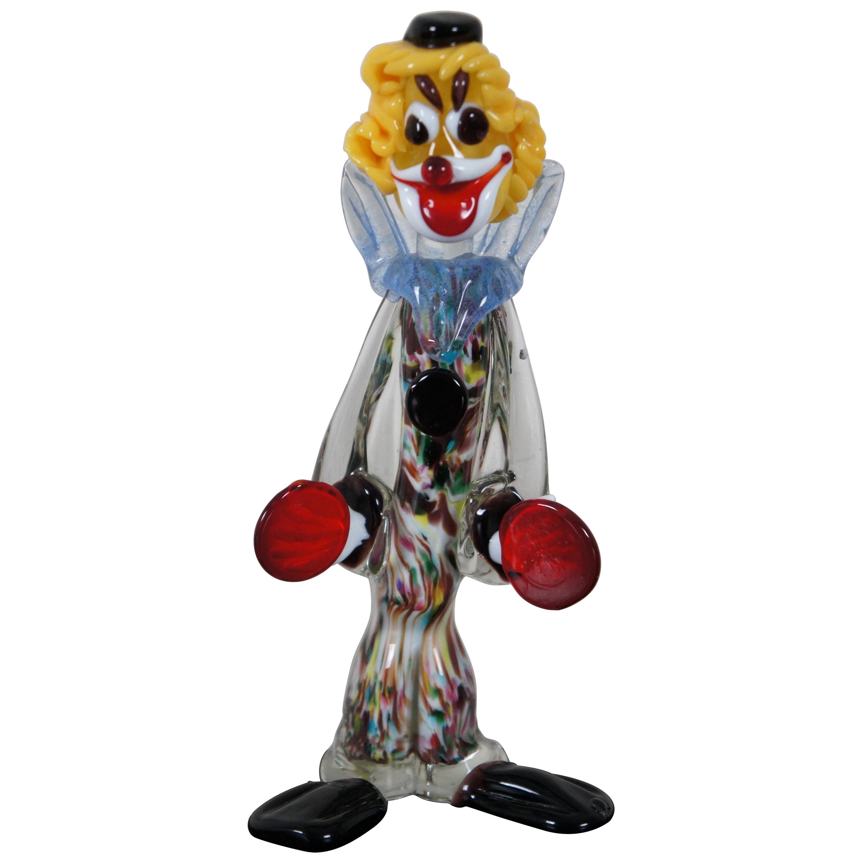 Venetian Murano Hand Blown Art Glass Circus Clown Figurine Sculpture, Italy