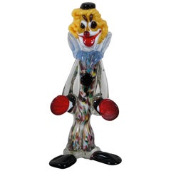 Venetian Murano Hand Blown Art Glass Circus Clown Figurine Sculpture, Italy