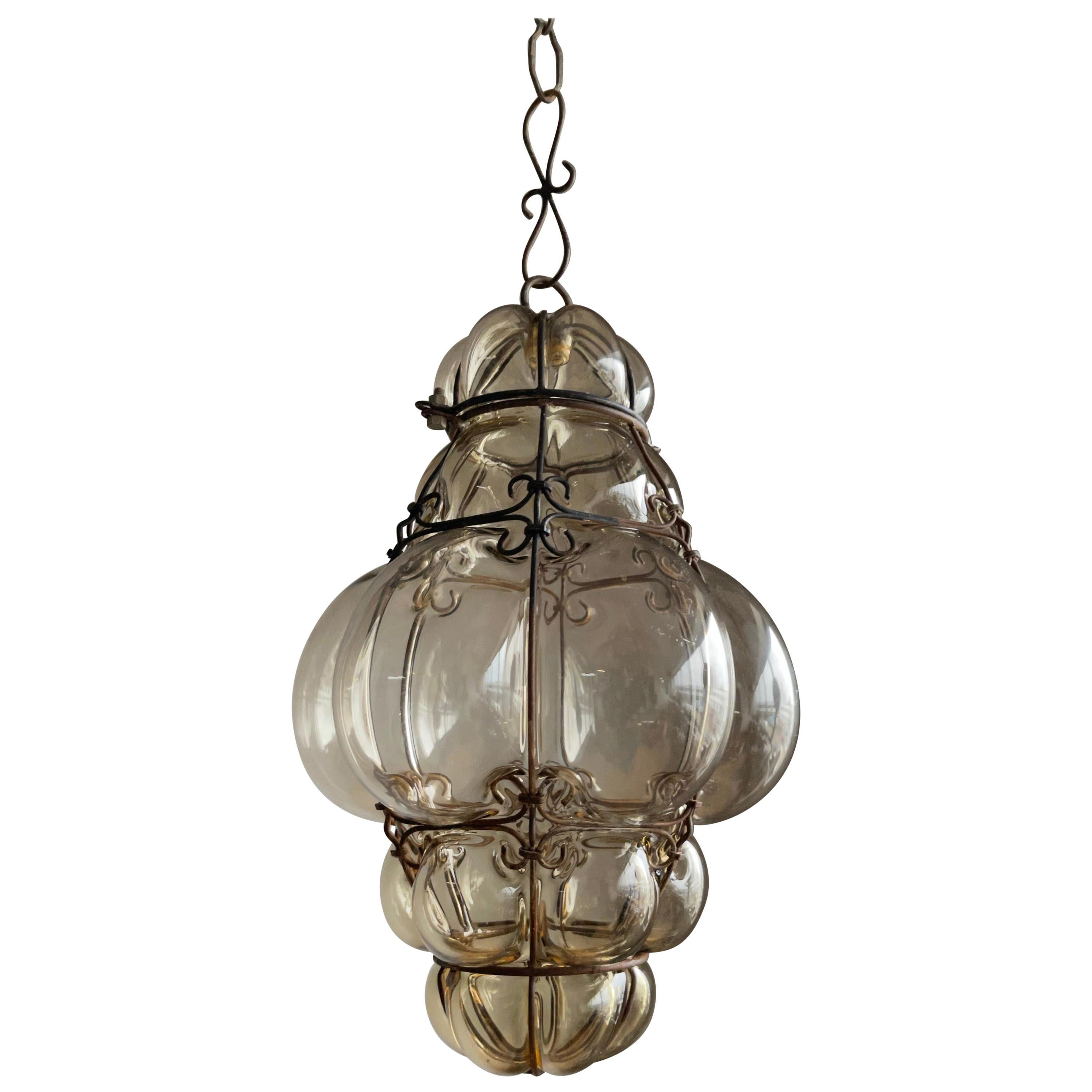 Great Venetian Murano Pendant Light with Mouthblown Smokey Amber Glass in Frame