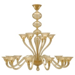 Venetian Murano Sommerso Gold Glass Chandelier