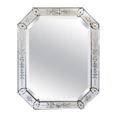 Venetian Octagonal Etched Beveled Wall Mirror from Italy
