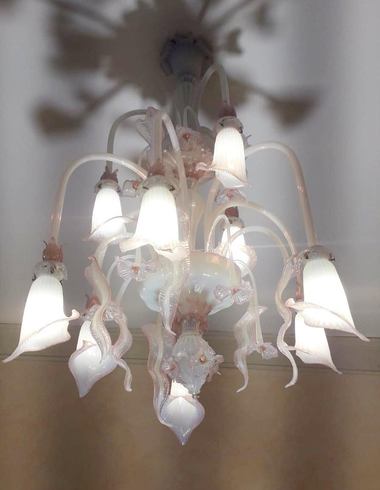Venetian Opaline and Pink Chandelier In Good Condition For Sale In Palm Springs, CA