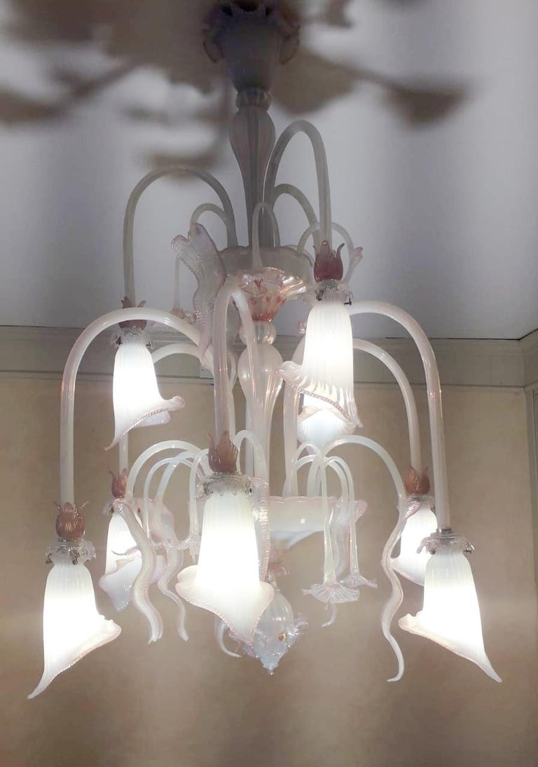 20th Century Venetian Opaline and Pink Chandelier For Sale