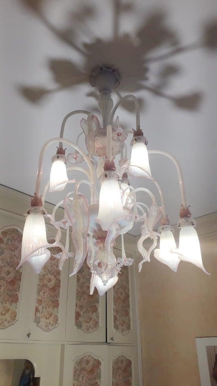 Murano Glass Venetian Opaline and Pink Chandelier For Sale