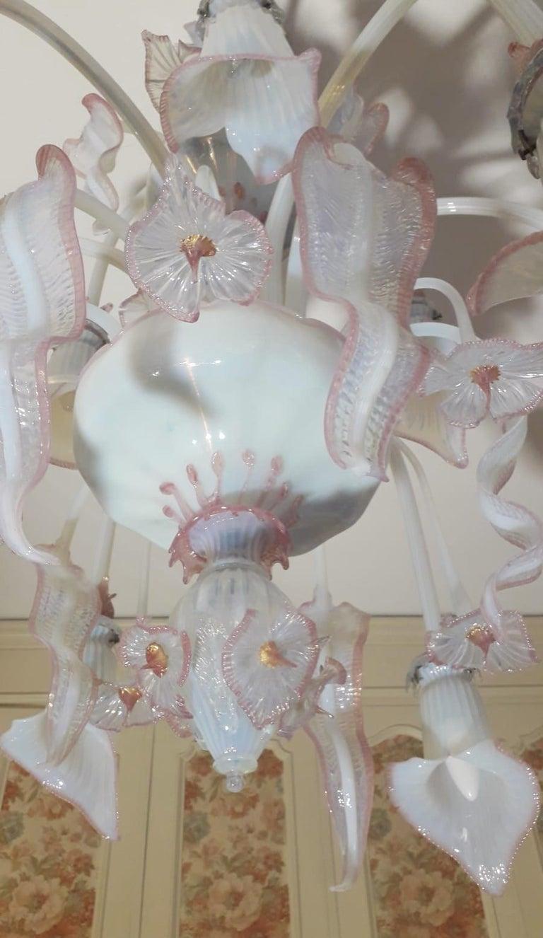 Venetian Opaline and Pink Chandelier For Sale 2
