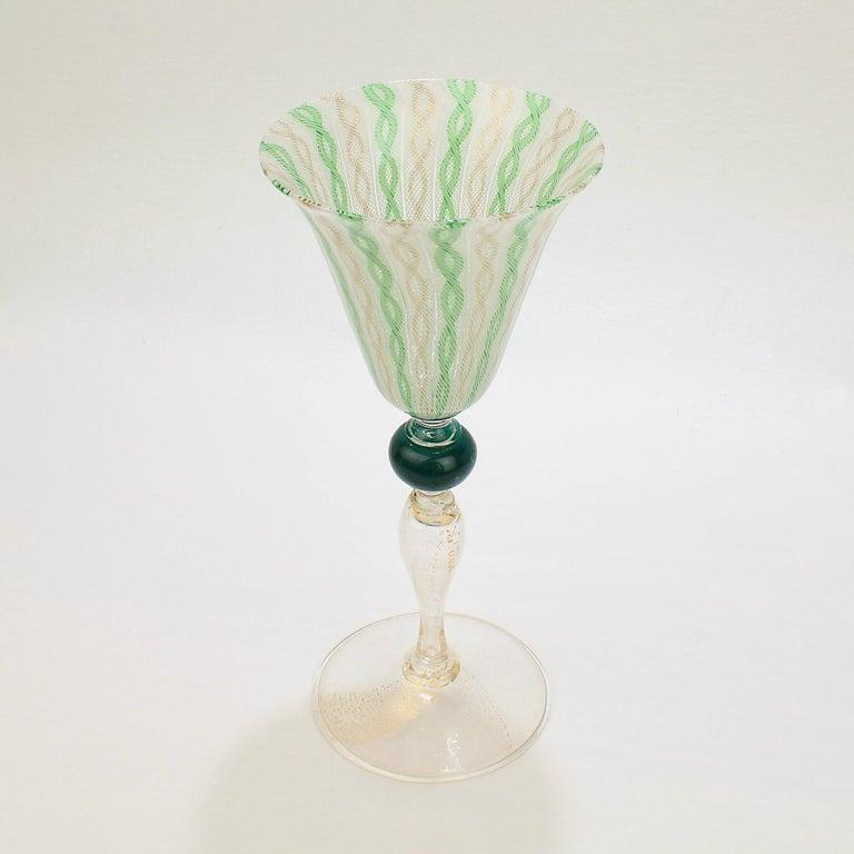 Modern Venetian or Murano Glass Green, White, and Gold Latticinio Swirl Wine Goblet For Sale