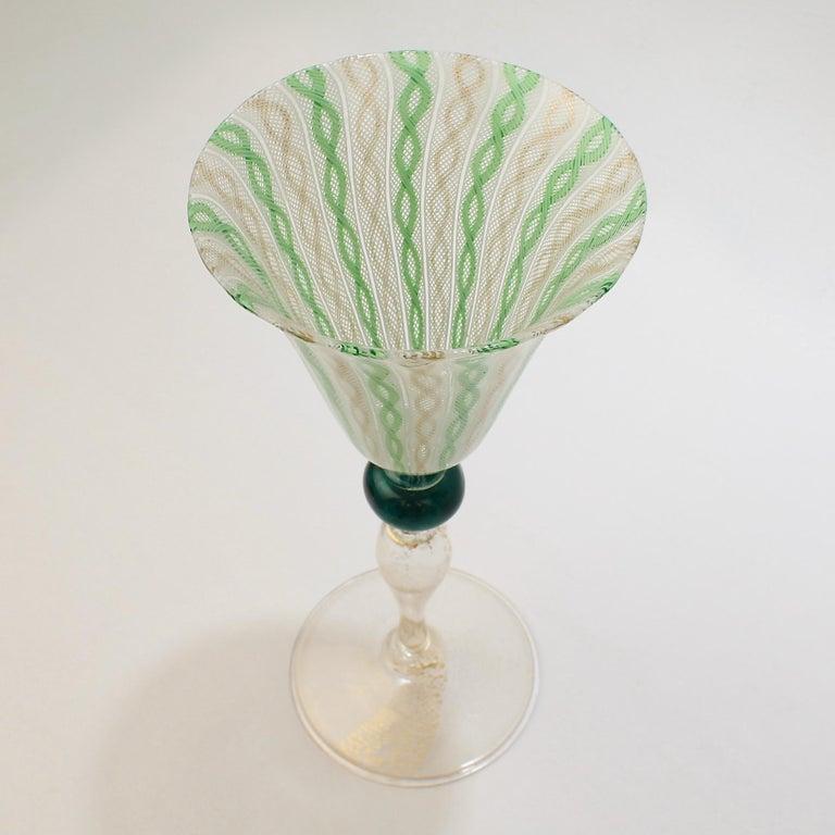 Italian Venetian or Murano Glass Green, White, and Gold Latticinio Swirl Wine Goblet For Sale