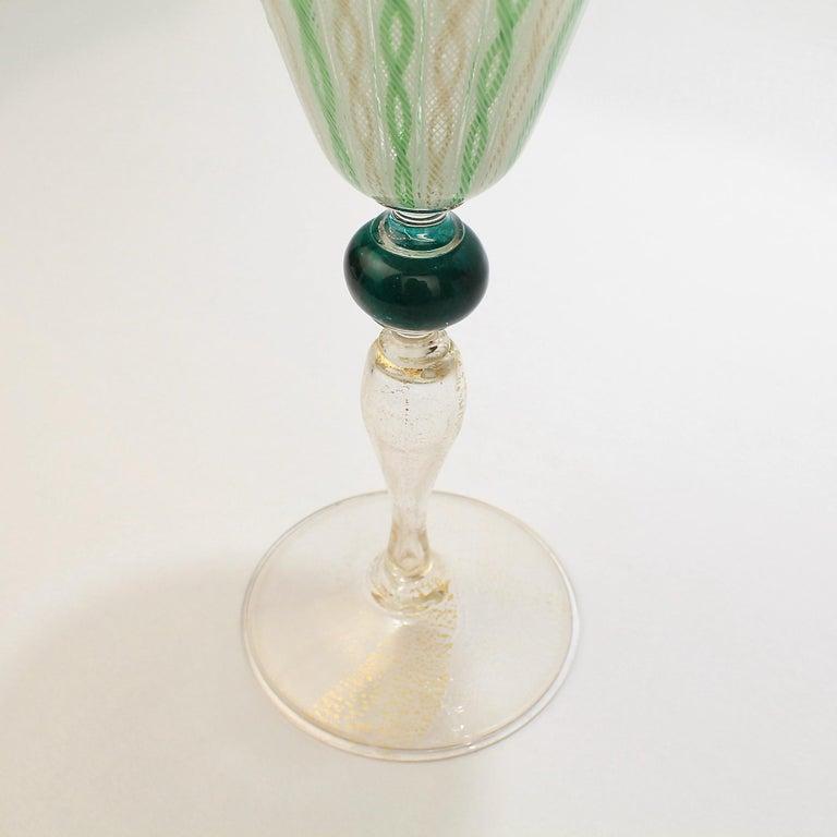 20th Century Venetian or Murano Glass Green, White, and Gold Latticinio Swirl Wine Goblet For Sale