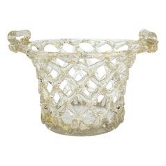 Venetian or Murano Glass Liege a Traforato Openwork Basket with Gold Foil