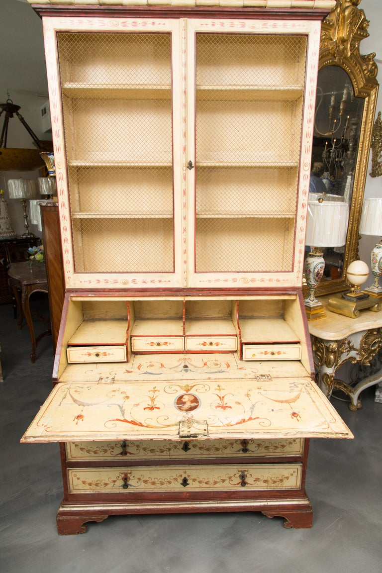 Italian Venetian Painted Secretary Bureau Bookcase For Sale