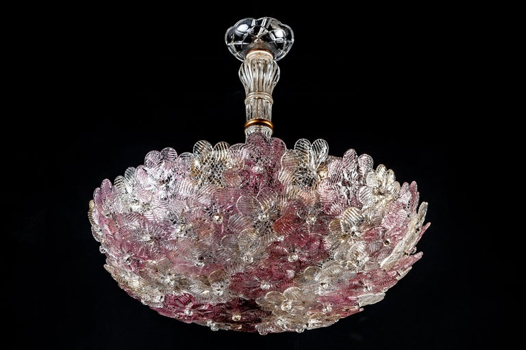Blown Glass Venetian Pink and Gilt Flower Glass Chandelier by Barovier e Toso, 1950 For Sale