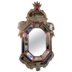 Venetian Pink Flower Murano Glass Mirror