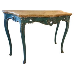 Venetian Polychrome Console Table with Original Marble Top, 18th Century
