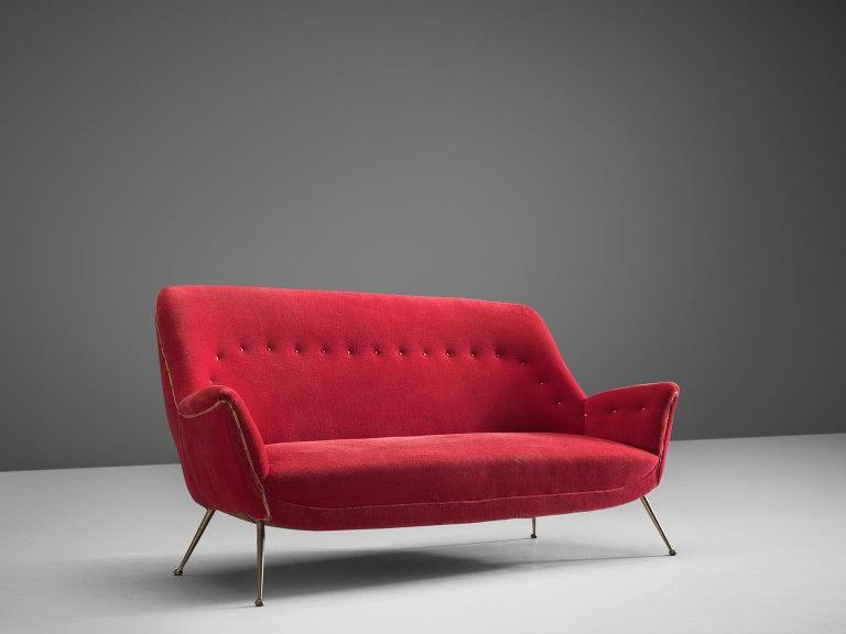 Mid-Century Modern Venetian Red Fabric Italian Sofa, 1950s For Sale