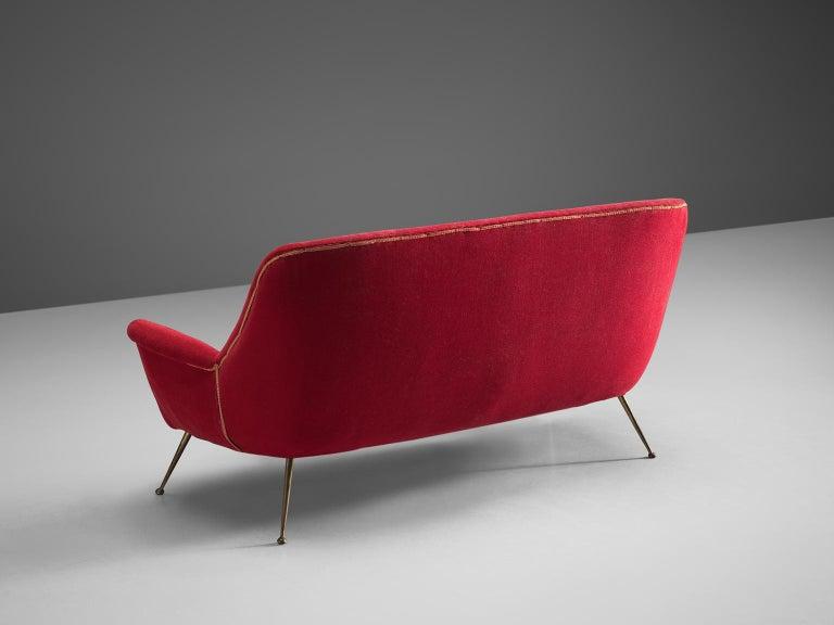 Mid-20th Century Venetian Red Fabric Italian Sofa, 1950s For Sale
