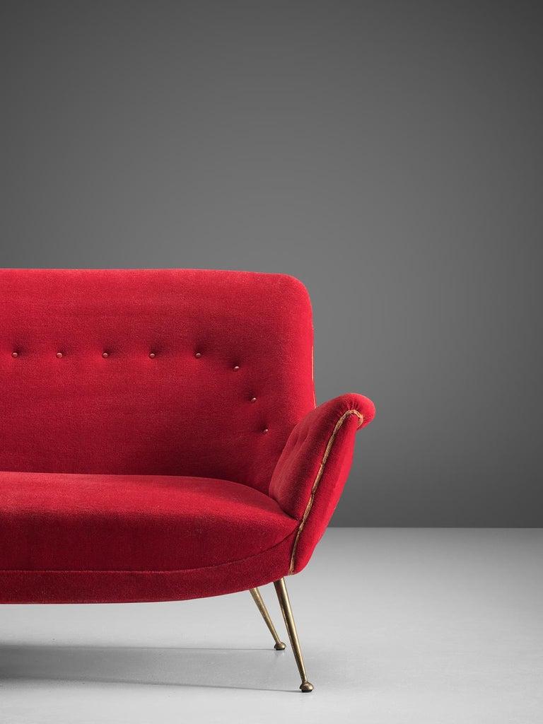 Brass Venetian Red Fabric Italian Sofa, 1950s For Sale