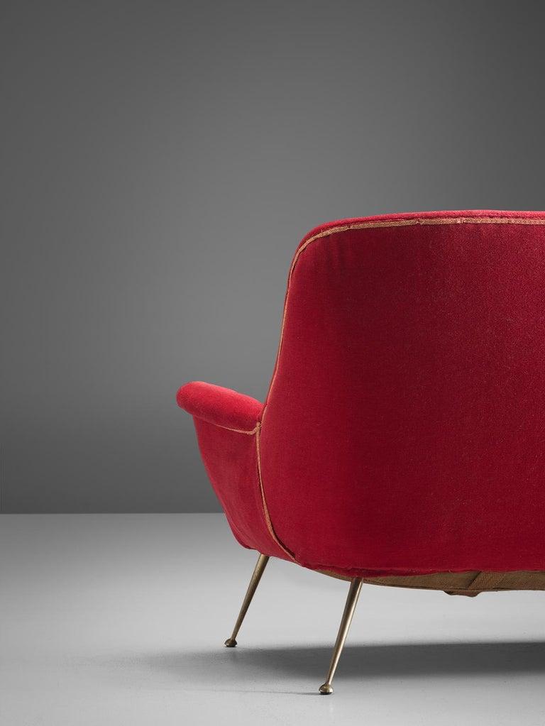 Venetian Red Fabric Italian Sofa, 1950s For Sale 1