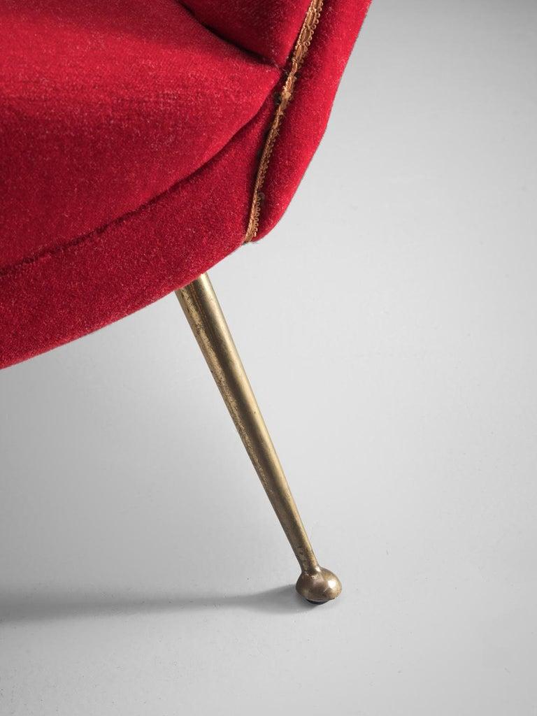 Venetian Red Fabric Italian Sofa, 1950s For Sale 2