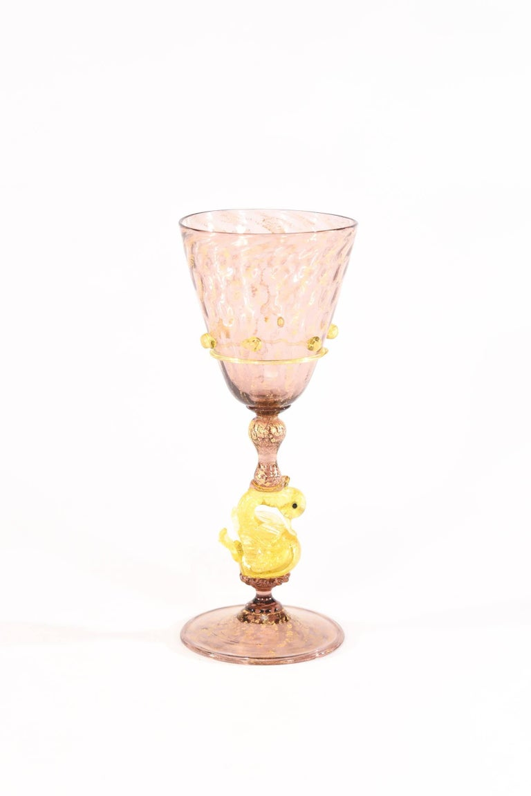 Early 20th Century Venetian Salviati Set of 36 Pcs Stemware Service Amethyst w/ Gold Leaf & Swans For Sale
