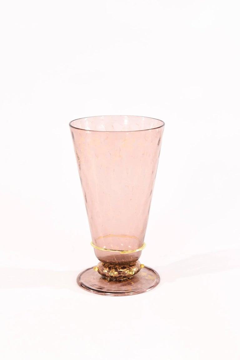 Blown Glass Venetian Salviati Set of 36 Pcs Stemware Service Amethyst w/ Gold Leaf & Swans For Sale