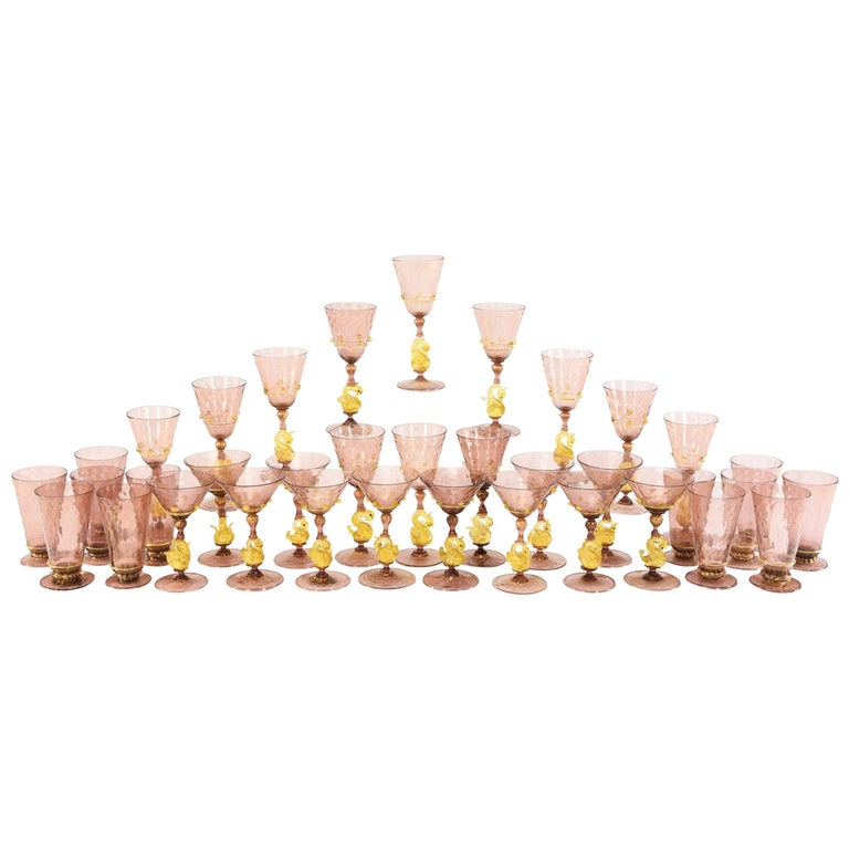 Venetian Salviati Set of 36 Pcs Stemware Service Amethyst w/ Gold Leaf & Swans For Sale