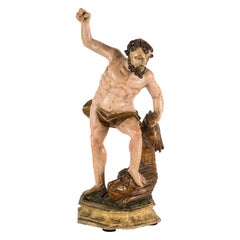 Venetian Sculpture in Carved and Painted Wood, Hercules and Lion, 18th Century