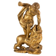 Venetian Sculpture in Golden Wood, Hercules and Lion of Nemea, 18th Century