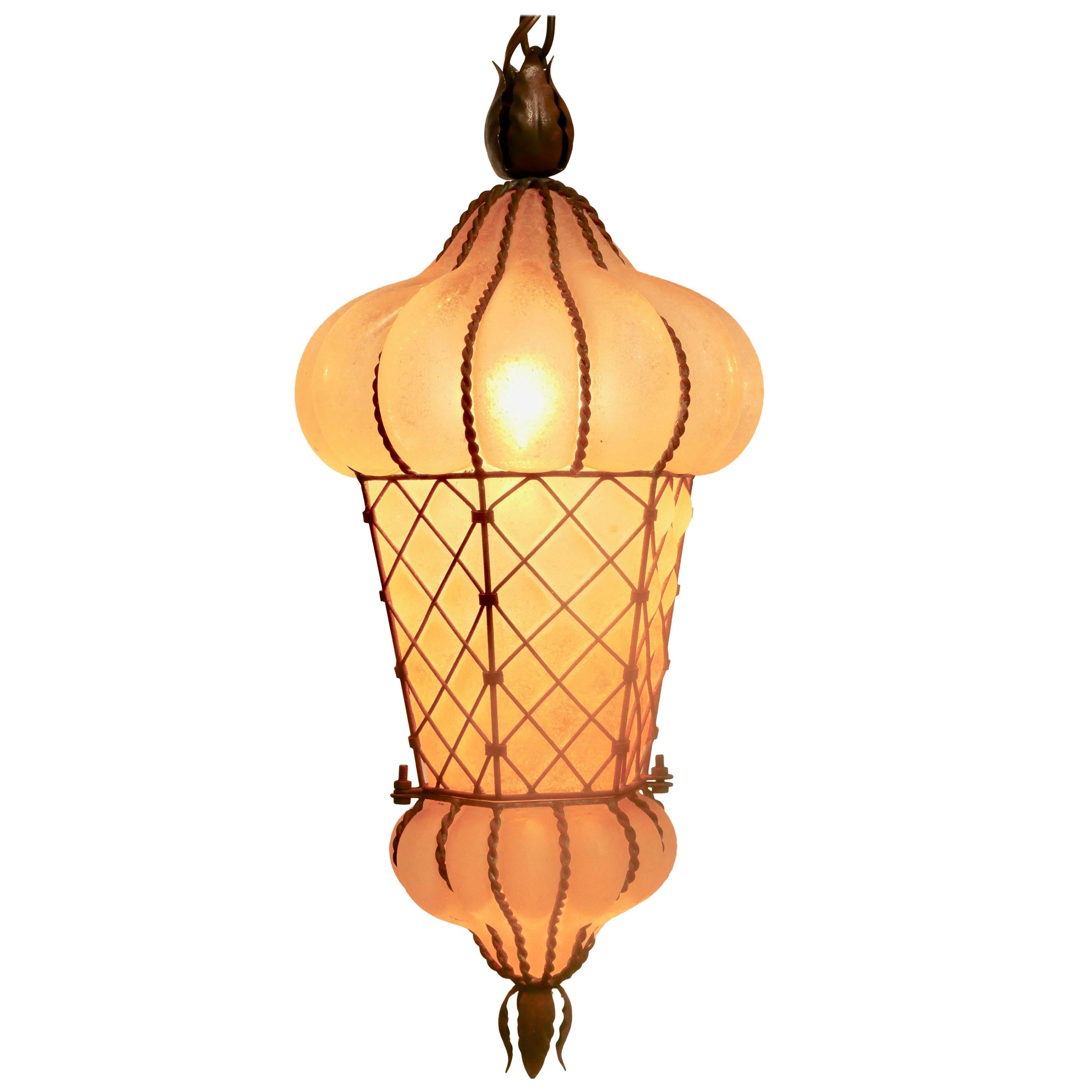 Venetian Shaped Frosted Glass and Metal Hanging Pendant