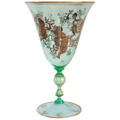 Venetian Spring Green Murano Gilded Vase