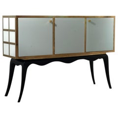 Venetian Squared White Glass and Brass Italian Mid-Century Sideboard, 1950
