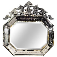 Venetian Style Beveled Wall Mirror with Floral Etched Glass over the Mantle
