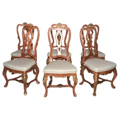 Venetian Style Carved, Gilt and Paint Decorated Dining Chairs