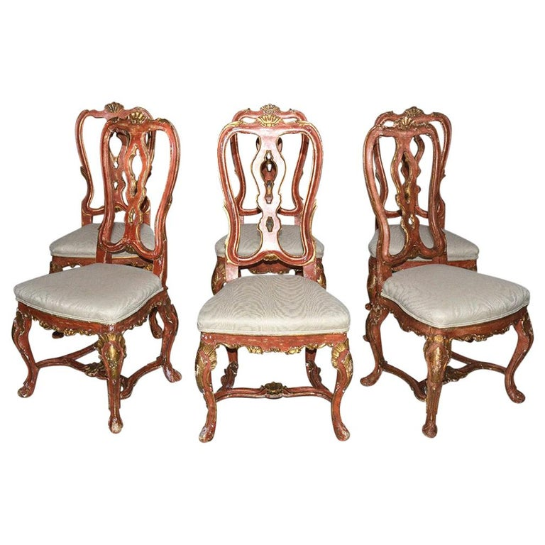 Venetian Style Carved, Gilt and Paint Decorated Dining Chairs For Sale