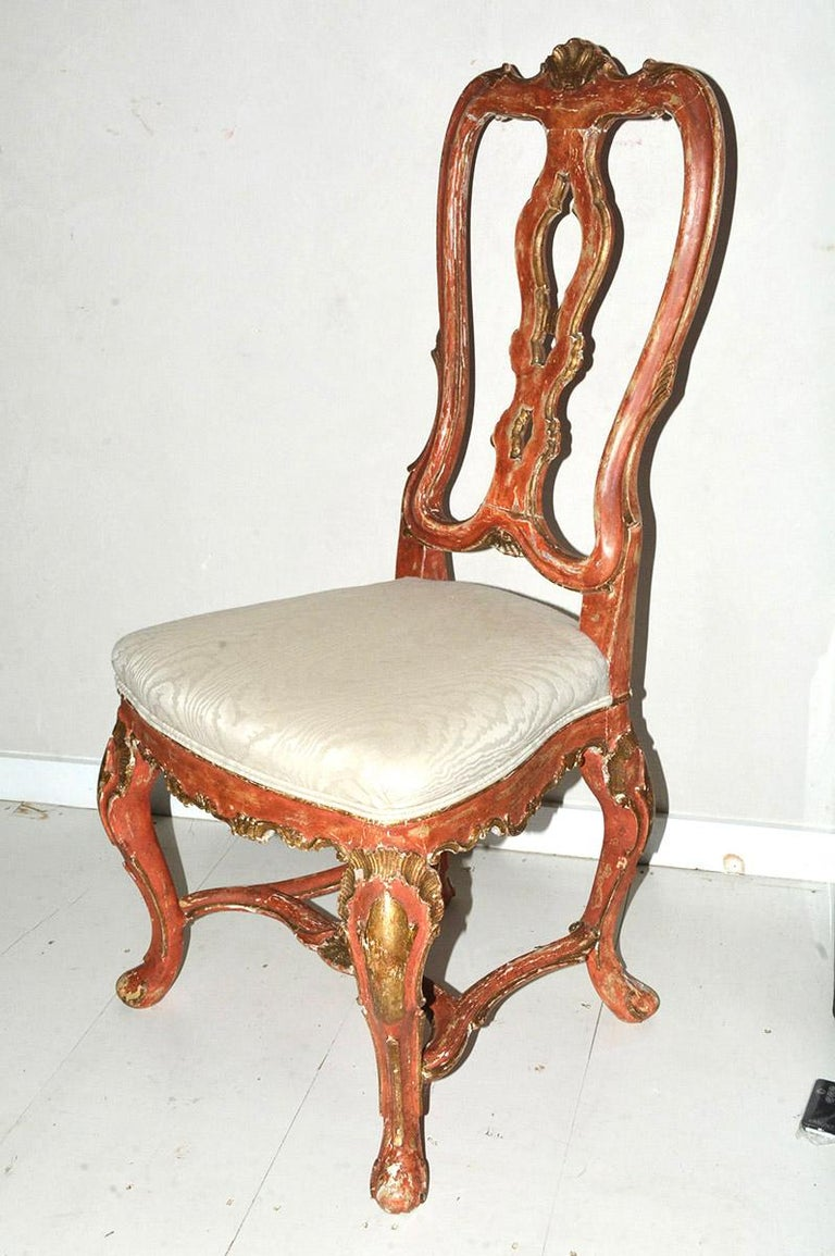 Baroque Venetian Style Carved, Gilt and Paint Decorated Dining Chairs For Sale
