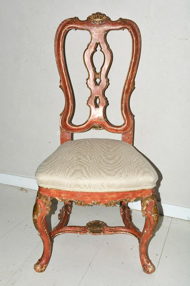 Italian Venetian Style Carved, Gilt and Paint Decorated Dining Chairs For Sale