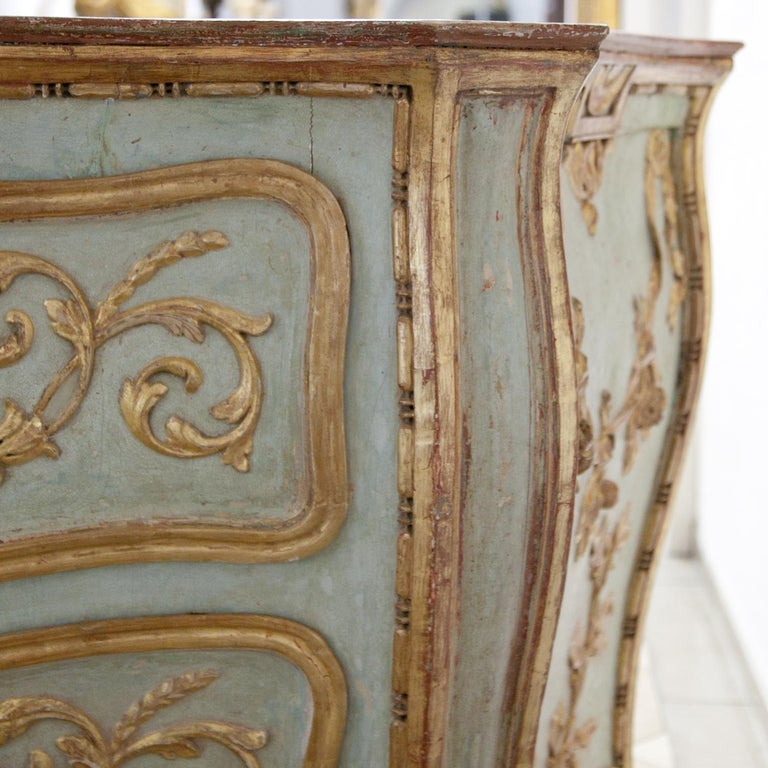 Hand-Painted Venetian-Style Chest of Drawers, Probably Southern Germany, 18th Century For Sale