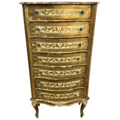 Venetian Style Chest of Seven Drawers from 1960, Original Worn Painting