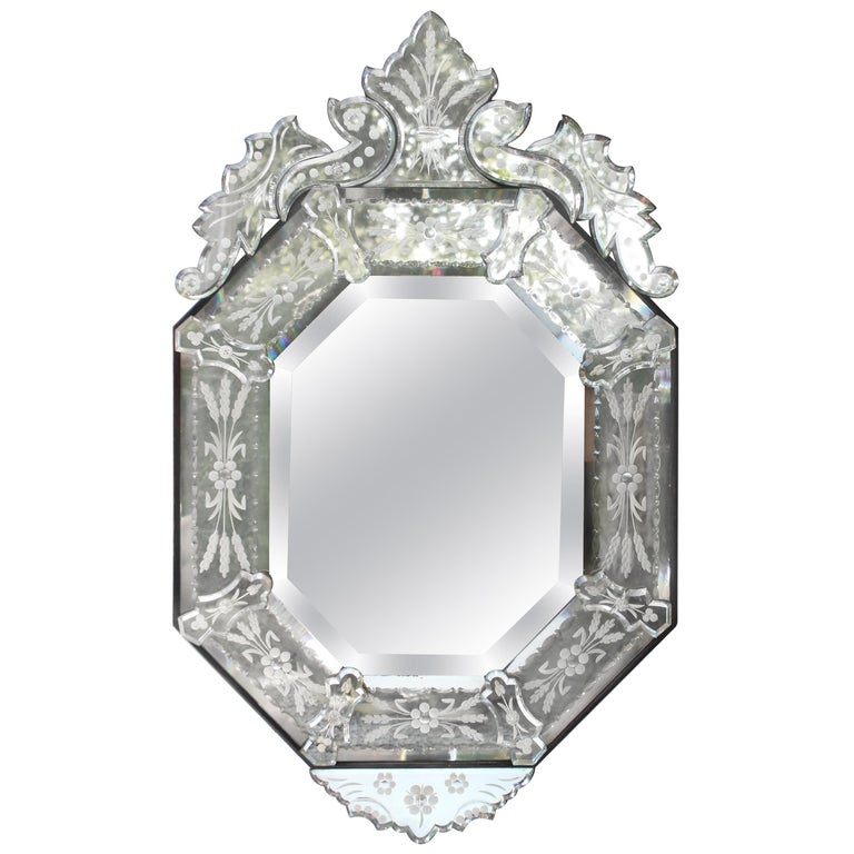 venetian style glass mirror for sale at 1stdibs. Black Bedroom Furniture Sets. Home Design Ideas