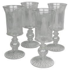 Venetian Style Clear Blown Glasses-Set of Four