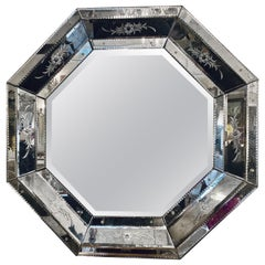 Venetian Style Hollywood Regency Octagon Mirror Etched Glass Beveled Antiqued