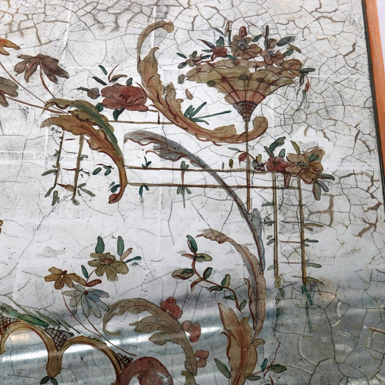 Venetian Style Mirrored Chinoiserie Decorated Ladies Desk, Signed, 20th Century For Sale 6