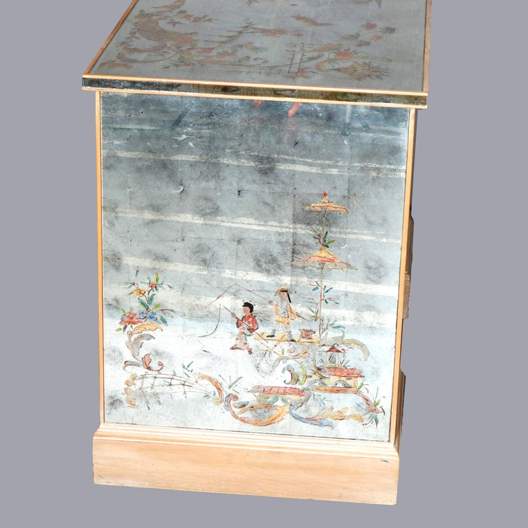Venetian Style Mirrored Chinoiserie Decorated Ladies Desk, Signed, 20th Century For Sale 8